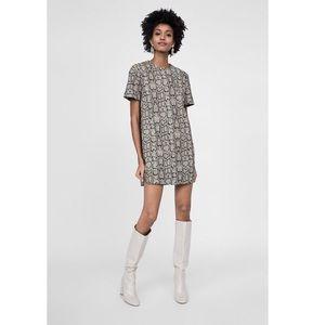 Zara Woman - Snakeskin Print Jacquard Shift Dress
